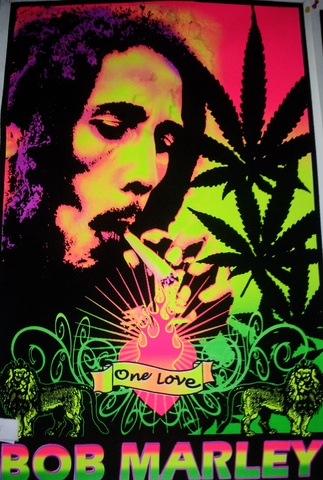 "Felt Black Light Poster - ""Bob Marley"""