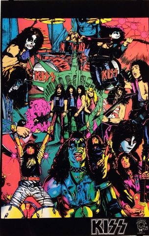 "Felt Black Light Poster - ""Kiss Comics"" *Vintage 1995*"