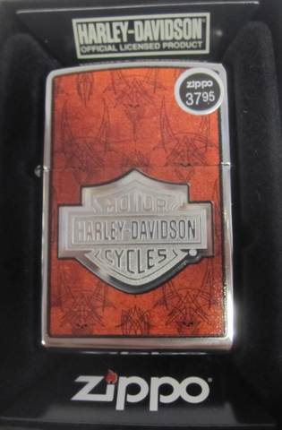 Zippo Lighter - Harley Davidson - Orange Skull Back