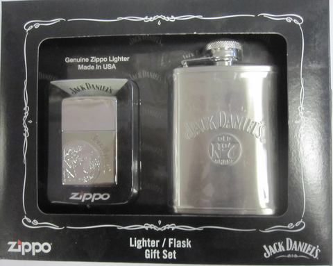 Zippo Lighter - Alcohol - Jack Daniels Lighter/Flask Set