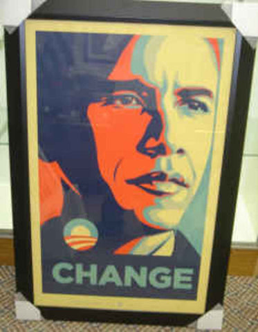 Shepard Fairey - 2008 - Obama Change (Framed) Art Print