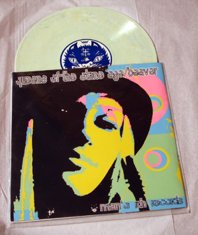 Queens Of The Stone Age & Beaver Split Album 1998 Colored Vinyl Art By Kozik
