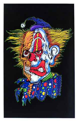 Felt Black Light Poster - 2001 - 2 Faced Clown