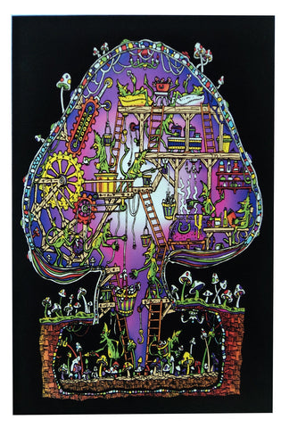 Felt Black Light Poster - 2002 - Mushroom Factory