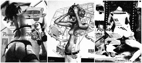 Aelhra - 2011 - Hot Collage Trio - Black & White Art Print Set