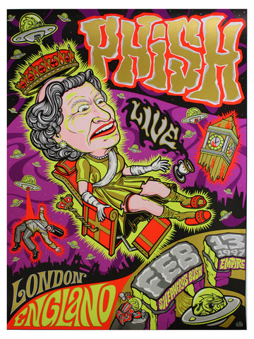 House Industries & Ink Studios - 1997 - Phish London Concert Poster
