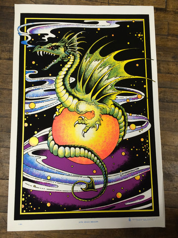 Felt Black Light Poster - 2000 - Space Dragon