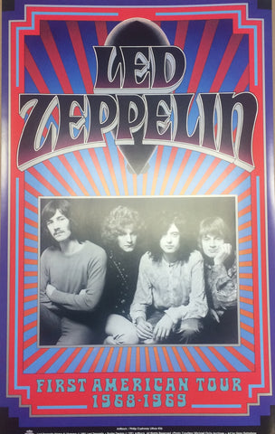 Gary Grimshaw - 1990 -  Led Zeppelin First North American Tour 1968-69 Poster (Signed)