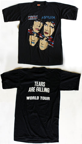"Kiss Asylum ""Tears Are Falling World Tour"" Vintage Concert Black Tee"