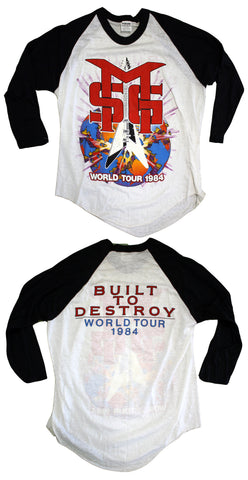 "The Michael Schenker Group ""Built To Destroy World Tour 1984"" Vintage Raglan Tee"