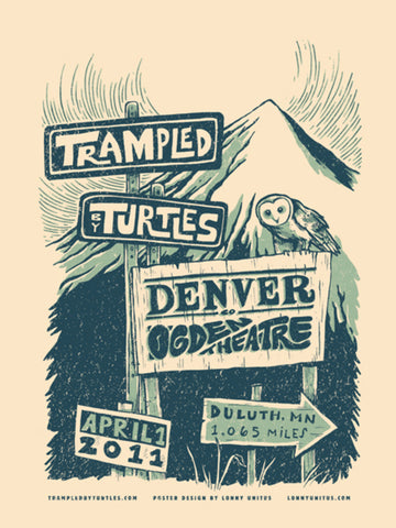 Lonny Unitus - 2011 - Trampled By Turtles Colorado Concert Poster