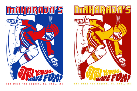 Red Bull / Maharaja's CRUSHED ICE Limited Edition Poster by Lonny Unitus! - SET OF TWO, ORIGINAL AND VARIANT