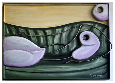 Ken Farkash - 2011 - Purple Reclining Nude On Green Couch
