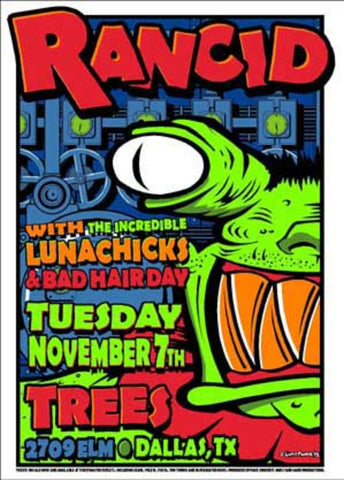Uncle Charlie - 1995 - Rancid Concert Poster (Dallas)