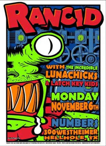 Uncle Charlie - 1995 - Rancid Concert Poster (Houston)