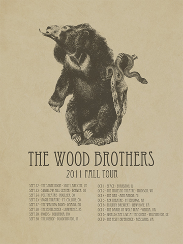 Iron Jaiden - 2011 - The Wood Brothers (Fall Tour I) Concert Poster