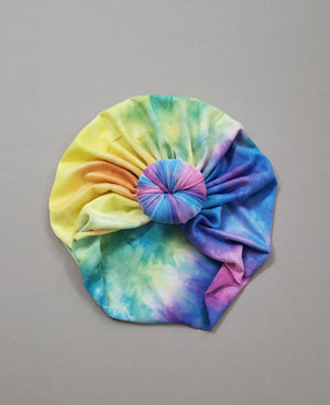 Bright colored tie dye headwrap