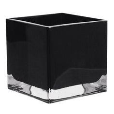 "Black 4"" Cube Vase- BLA1 - Richview Glass Wedding Supplies"
