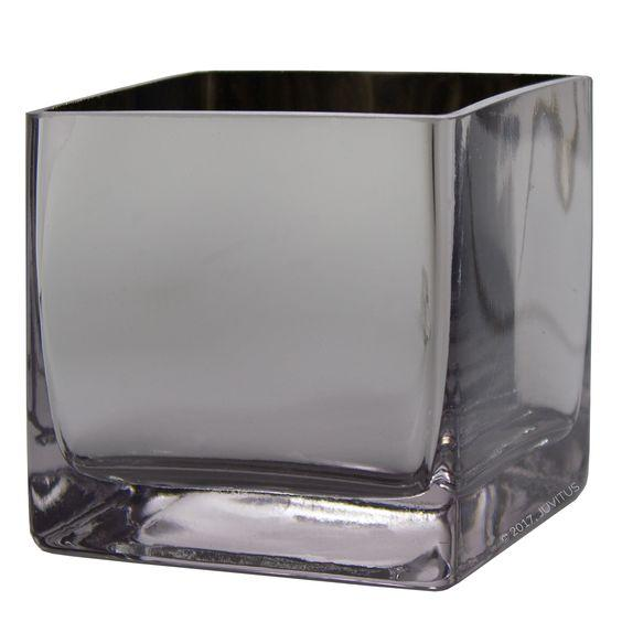 "SILVER 6"" CUBE VASE - SIL3"