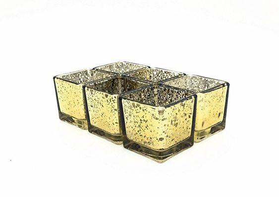 "Mercury gold 3"" Cube Vase Clear Glass wedding centerpiece"