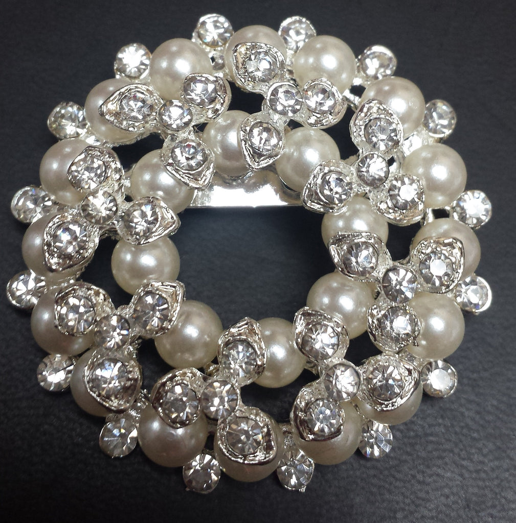 Pearl Silver Diamond Rhinestone Brooch - Richview Glass Wedding Supplies