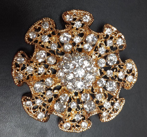 "Bow tie Gold Diamond Rhinestone Brooch 2.5"" - Viva La Rosa"