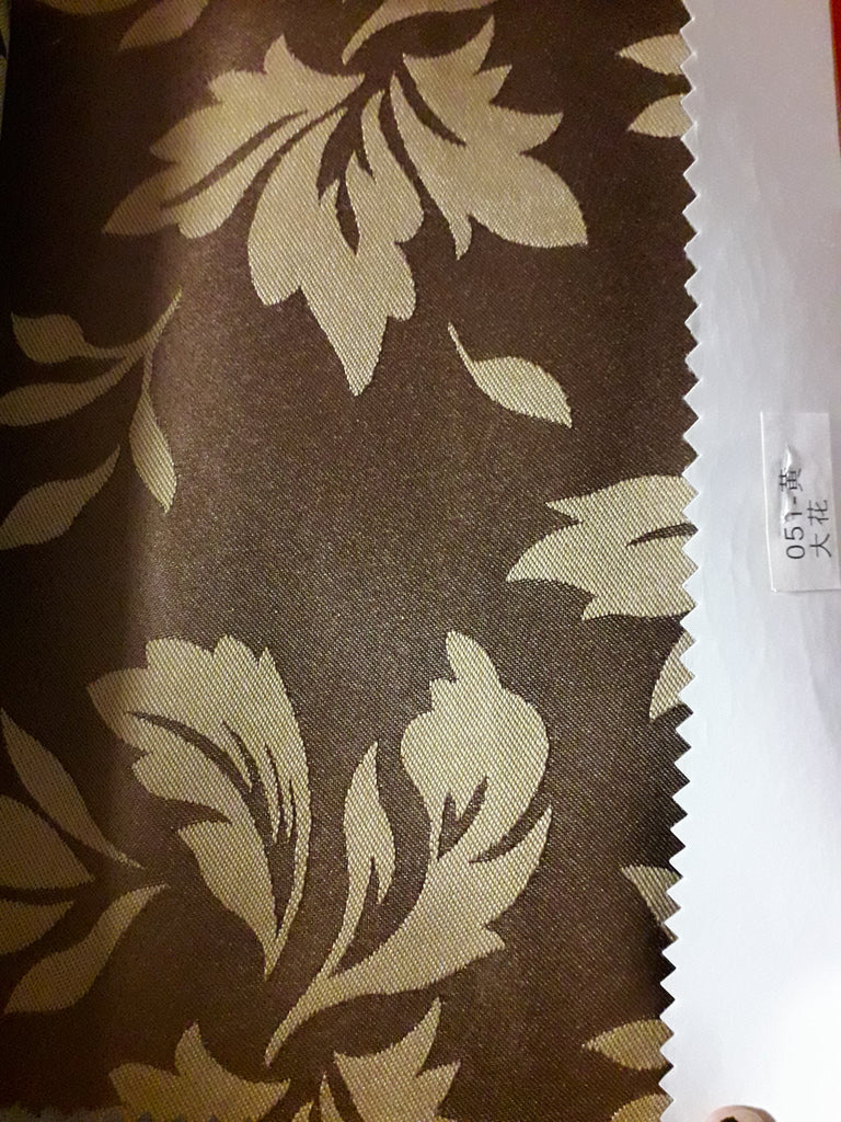 "Sequin Table Cloth Square 90""x156 (brown with leaf)- 051"