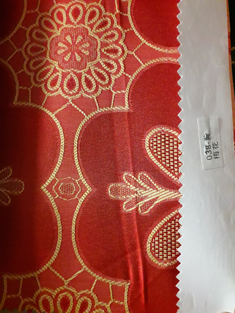 "Sequin Table Cloth Square 90""x156 (red with yellow flower)- 038"