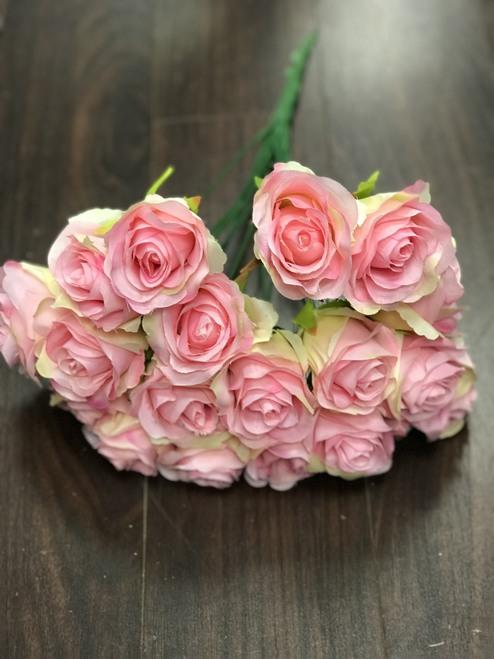18 HEAD Pink ROSE BUNCH WITHOUT LEAVES - Richview Glass Wedding Supplies