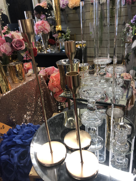 New Metal CANDLEHOLDER set Of 4 French Gold
