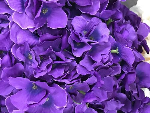 Artificial Flower Purple Hydrangea Bunch 7 head silk - Viva La Rosa