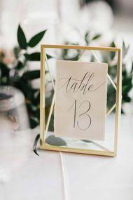 Geometric Gold Metal Photo Frame VR0008 - Richview Glass Wedding Supplies