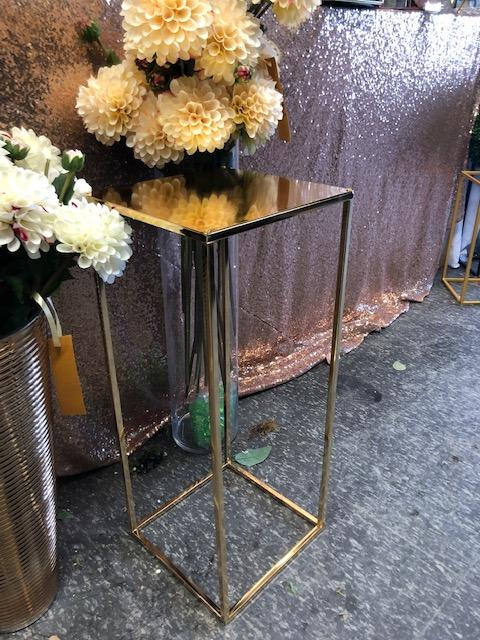 "With surface Modern Rectangular Stand Metal Gold 24"" Need Assembly"