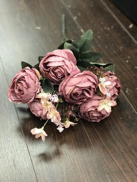 Yummy Close Head Roses Artificial Flower (mauve) YUM1