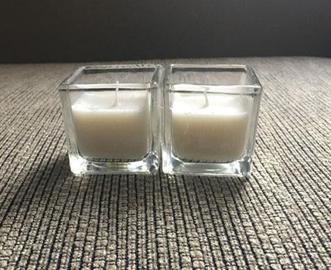 "2"" Square Clear Candle holder/ Votive With Wax - Viva La Rosa"