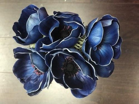 Artificial Anemone PU Material (6/bunch) Real Touch Flower SB199 (Blue) - 4E3D1E64 - Viva La Rosa