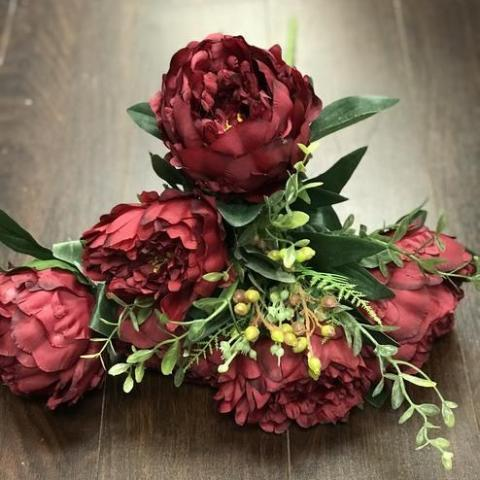 Jumbo Closed 11 Head Peony Bunch (Burgundy)-JUM1-3 - Richview Glass Wedding Supplies