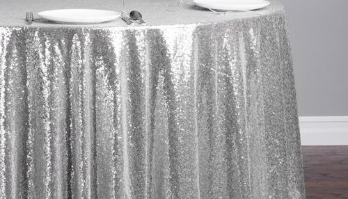 "Sequin Table Cloth Square 90""x156 (White)-seq5"