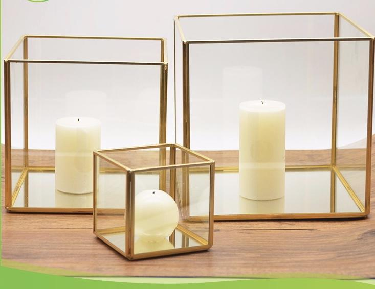 "Gold Candleholder box Screen GEOMETRIC 8.5""x8.5""X 3.5"" PLANTER TERRARIUM VASE"