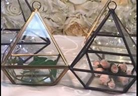 "GEOMETRIC 5.5"" PLANTER GLASS PYRAMID TERRARIUM VASE(Golden) - Viva La Rosa"