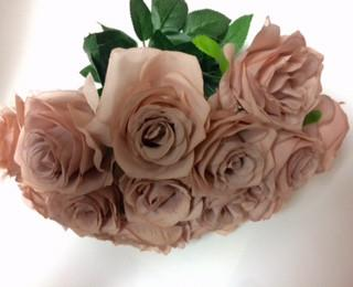 Artificial Flower Rose Bunch with leaf 18 head (Hot Pink) -FLO1-8 - Viva La Rosa