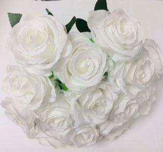 Artificial Flower Rose Bunch with leaf 18 head (white) - Viva La Rosa