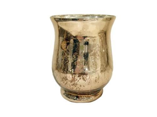 "MERCURY GOLD HURRICANE VASE 7"" H"