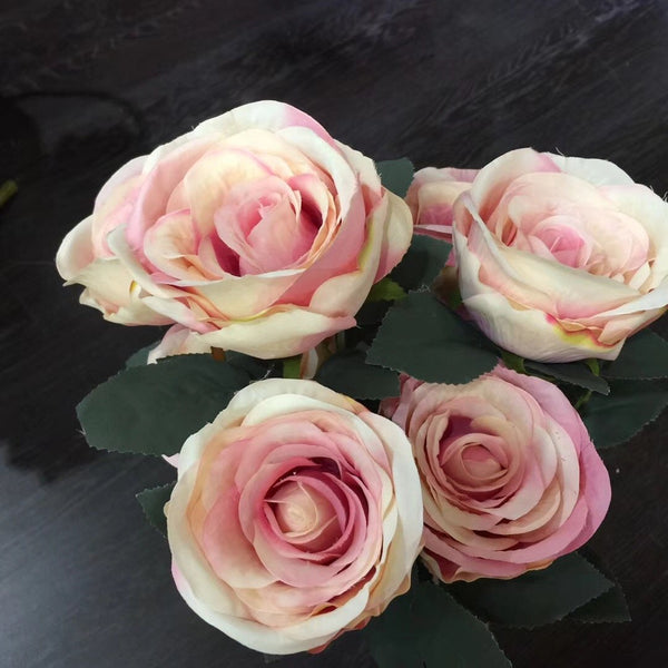 Jumbo Rose Artificial Flower Vintage Rustic style 7 heads(Champagne)-SWE1-2 - Richview Glass Wedding Supplies