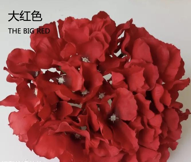 red hydrangea head silk flower