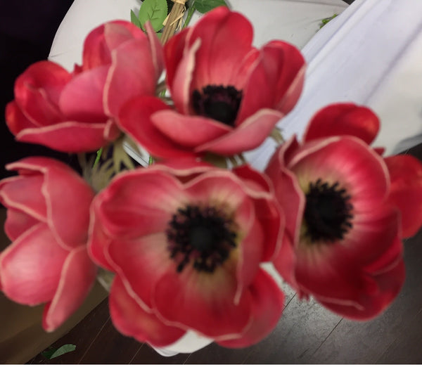 Artificial Anemone PU Material (6/bunch) Real Touch Flower SB199 (Purple) - 4E3D1E63 - Viva La Rosa