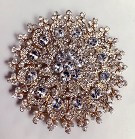 "Huge Gold Diamond Rhinestone Brooch 5"" - Richview Glass Wedding Supplies"