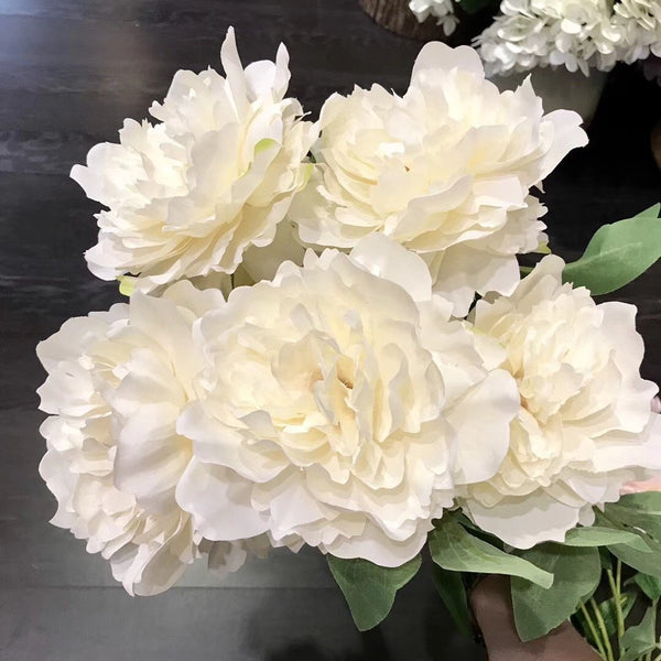 New 7 HEAD (CHAMPAGNE) FABRIC ARTIFICIAL PEONIES PEONY BUNCH