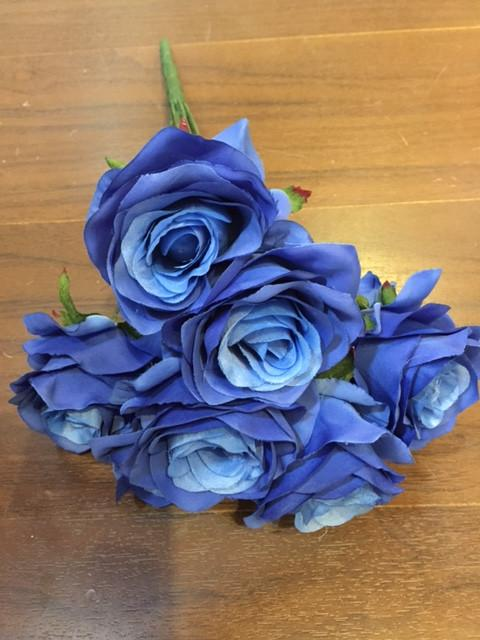 Artificial Diamond Rose Bunch 9 head (Royal blue)-ART1-24 - Richview Glass Wedding Supplies