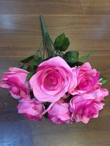 Hot Pink Artificial Diamond Rose Bunch 9 head -ART1-20 - Richview Glass Wedding Supplies